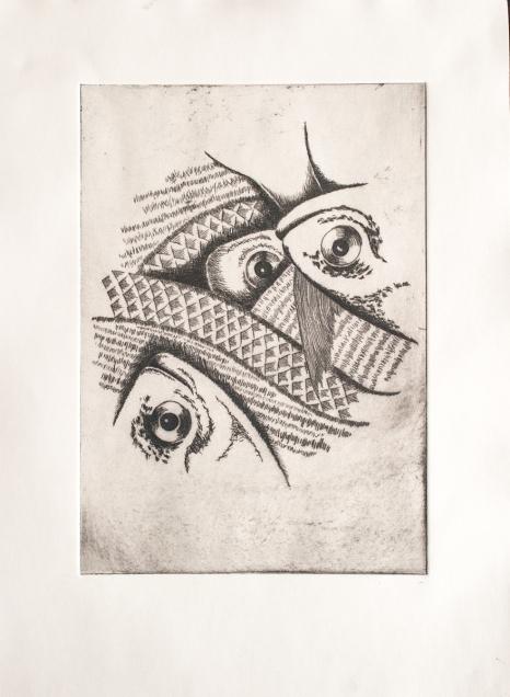 Fish Market, Drypoint Print